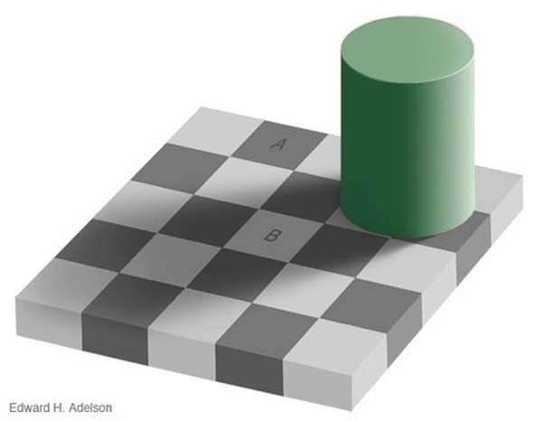10.) Squares A & B are the same shade of grey.