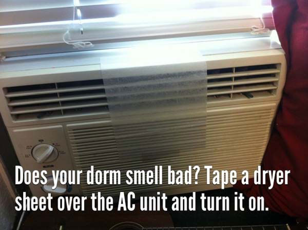 Tape a dryer sheet over an air conditioner vent to freshen up the room.